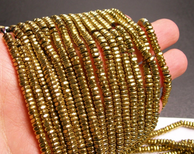 Hematite gold - 4mm x 2mm heishi square slice beads - full strand - 202 beads - AA quality - PHG171