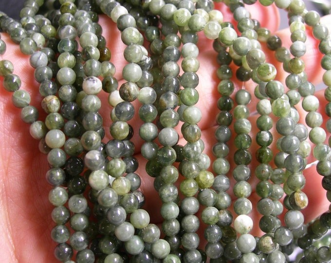 Jade  - 4 mm round beads -1 full strand - 97 beads - A Quality - RFG132