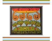 PDF E pattern emailed Wicca Mother Earth Father Sky Cross Stitch Pattern Sampler 150