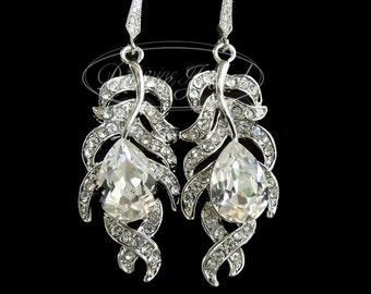 Bridal Earrings Swarovski Teardrop Crystal Earrings Chandelier Earrings Long Rhinestone Earrings Wedding Statement Bridal Earring FIONA