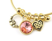 Valentine's Day Personalized Celtic Bracelet Expandable Adjustable Gold Bracelet with Claddagh and Heart Celtic Charms and Rose Peach Pink