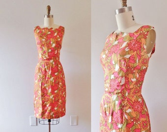 1960s Palm Beach tropical silk wiggle dress / 60s bombshell