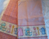 50s style dish towel set diner old school kitchen retro tea towels