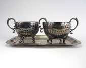 Shabby Chic Silver Plated Sugar and Creamer Set with Silver Tray Downton Abbey