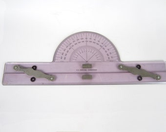 Vintage 1950s Acrylic and Brass Nautical Parallel Ruler with Protractor - Maritime Voyage Planning