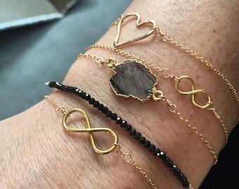 Labradorite freeform gemstone bracelet/ 14k gold filled gemstone bracelet/ gemstone stacking braclet
