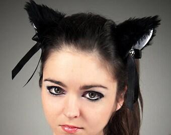Cat kitty ears black white cosplay kawaii anime harajuku sweet bell