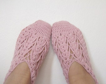 Pale Pink women house slipper-Hand made-Winter Home Slippers-Blush color-Adult size