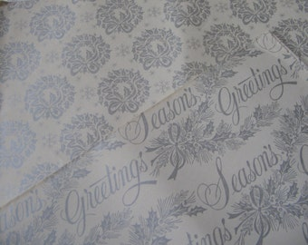 Vintage Christmas Gift Wrap 1950's Wrapping Paper Metallic Silver Cream, Season's Greetings Holly, Wreaths Snowflakes, 2 Folded Sheets