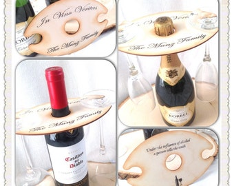 Wine Bottle and wine Glass holder- Personalized & Customizable.