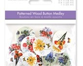 Wood Buttons Multicraft Floral Fancy Patterned Printed Wood Flowers