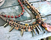 RESERVED for Kathy   Ladies Tribal Statement Multi Strand Gemstone African Beads Wood Leather and Chain