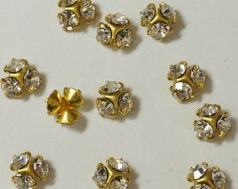 Vintage Swarovski 4mm Clear Crystal or AB  Brass Triple Rondelles (12)