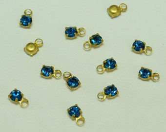 Vintage Swarovski 2.5mm Capri Blue Crystal and Brass Drop (24)