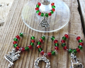 Merry Christmas Themed Silver Wine Glass Charms