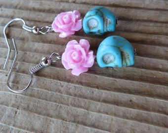 Pretty Pale Blue Howlite Skulls and Pink Acrylic Roses Earrings