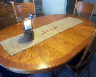 SALE PRICE REDUCED Primitive Christmas Burlap Table Runner, Jingle