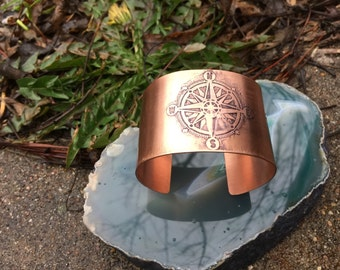 Compass Bracelet Cuff Etched Copper Cuff Metalwork Bohemian Compass Rose Travel Cuff Copper