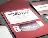 Red, Blush and Purple, Valentines Day Wedding Invitations, Bat Mitzvah Invitations, Bold Striped Modern - Pocketfold, 1 Layer, v3 -DEPOSIT