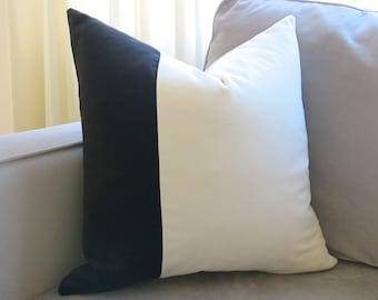 VELVET COLORBLOCK // more sizes - Black and White Velvet Pillow Cover - Black Pillow - White Pillow - Decorative Pillow - Designer Pillow