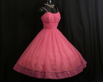 Vintage 1950's 50s Fuschia Hot Pink Ruched Chiffon Organza Rhinestones Party Prom Wedding DRESS