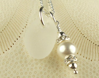 Wedding Jewelry Bright Petite White GENUINE Sea Glass Necklace With Wire Wrapped Pearl