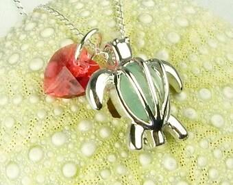 Turtle Necklace GENUINE Aqua Sea Glass Jewelry Locket Necklace Beach Jewelry