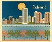 Richmond Skyline Print, Virginia State Art,  Richmond VA Wall Art, Richmond Horizontal Office Poster, Nursery Art, VA Art - style E8-O-RIC