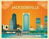 Jacksonville FL Skyline, Jacksonville map, Jacksonville horizontal Art,  Florida poster, Florida cities, southern wall art  style - E8-O-JAC