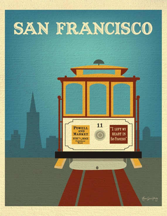 San Francisco Print, Cable Car Wall Art, San Francisco Travel Art Print, SF California Poster, Loose Petals City Art Print - style E8-O-SF7