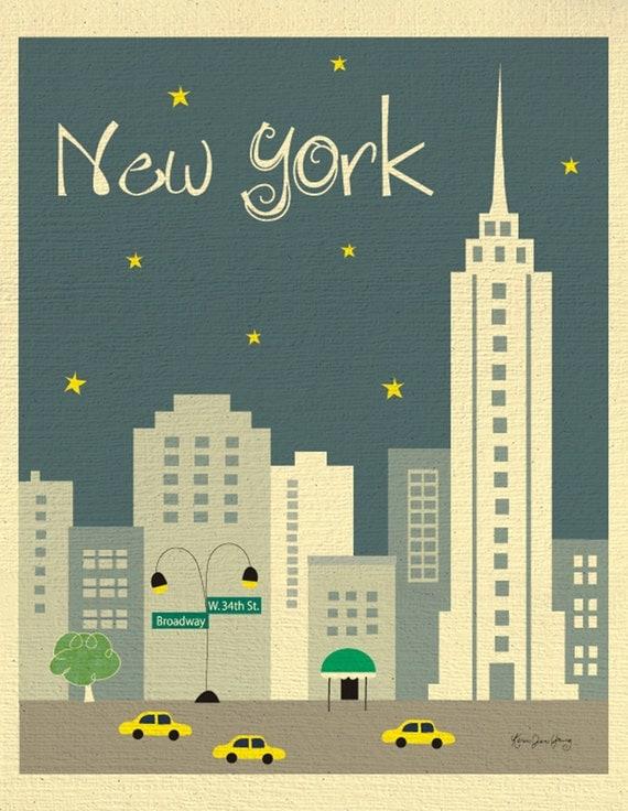 New York City Skyline Art Print, NYC Print, New York City Nursery Art, NYC Vertical Art (style E8-O- NY2 gray or style -  E8-O-NY2 orange)