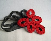 Crimson Red Pendant  Necklace - Red Lace Charm - Crocheted Red Necklace - Bridesmaid crimson red necklace - Lace pendant