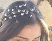 Silver glitter berry headband