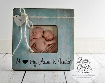 I Love My Aunt & Uncle Personalized Picture Frame, New Aunt New Uncle Gift, New Baby Announcement