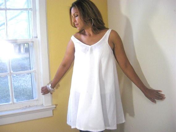 white dress/top swing top white linen dress/top sleeveless