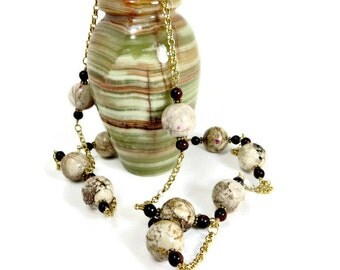 White Magnasite, Red Tiger's Eye, and Gold Chain Necklace