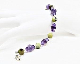 Amethyst Rondelle Beads and Matte Purple Jasper Round Beads Bracelet