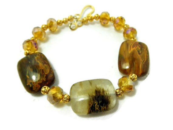 Amber Colored Tiger Cherry Quartz, Amber Glass Faceted Beads, and GP Filigree Bead Bracelet