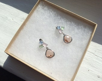 The Pretty Little Lovelies- Champagne, Pink, Blue, and Green Silver Stone Dangle Earrings