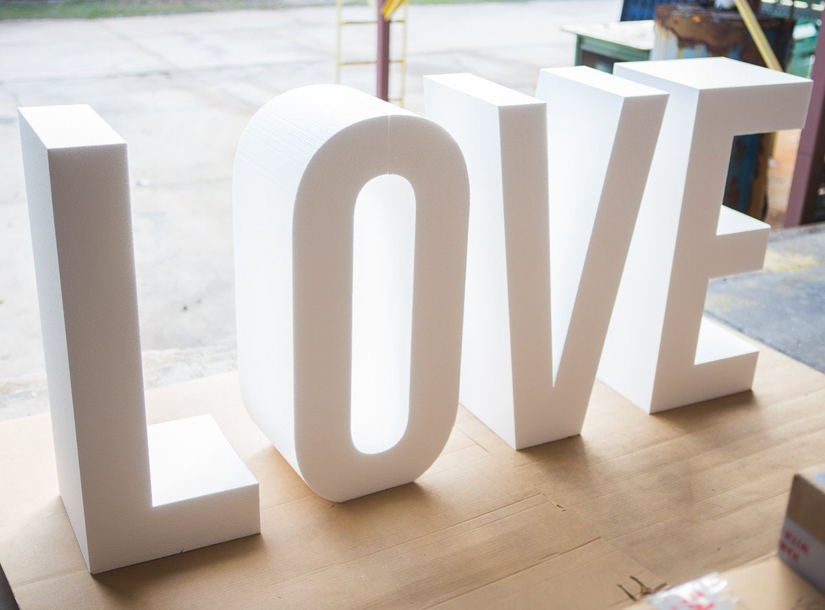 request a custom order and have something made just for you With giant styrofoam letters