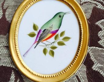 European porcelain bird plaque
