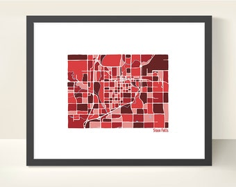 Sioux Falls United States Map Print - Original Illustration