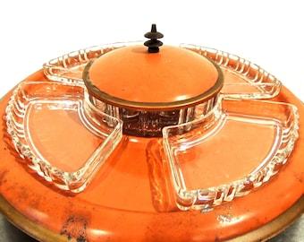 vintage lazy susan serving set - 1950s-60s mid century orange metal appetizer server w/ glass divider bowls