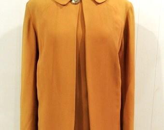 vintage marigold dress set - 1960s Emma Domb silky shift dress & cape jacket set