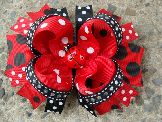 Red and Black Lady Bug Boutique Stacked Hair Bow Hair Clip