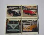 ceramic tile coasters of a VW bus