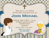 First Holy Communion Invitation Boys First Communion Invitation Holy Communion