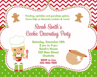 Cookie Decorating Party Invitation  - Christmas cookies -- gingerbread man, candy cane - you print or I print