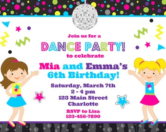 Dance Birthday Party Invitation Dance Party Twins Birthday Party Invitation