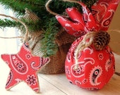 Country Western Cowboy Christmas Red Bandana Ball and Star Ornaments Home Decor